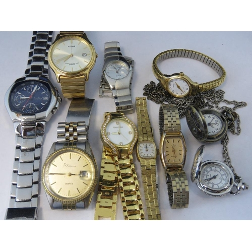 352 - A quantity of watches including an Incabloc, a Talisman Quartz, a Lorus, a Timex Quartz, an Accurist...