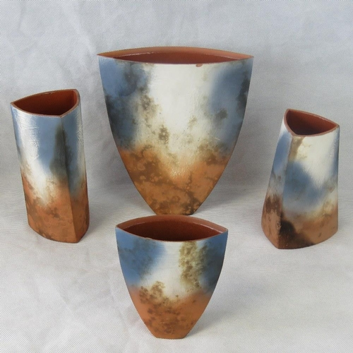 471 - Tessa Wolfe Murray. Four matt finish studio pottery vases each signed under. Various sizes....