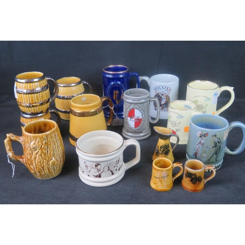 475 - A quantity of fifteen Wade items including themed mugs, barrel mugs and miniature items....