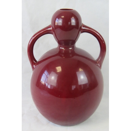 478 - A Wemyss double-gourd twin-handled vase in red ground standing 37cm high....
