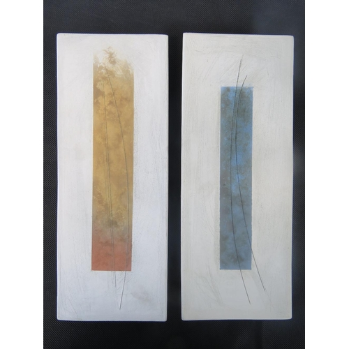 487 - Tessa Wolfe Murray. Two matt finish wall plaques 32cm x 12.5....