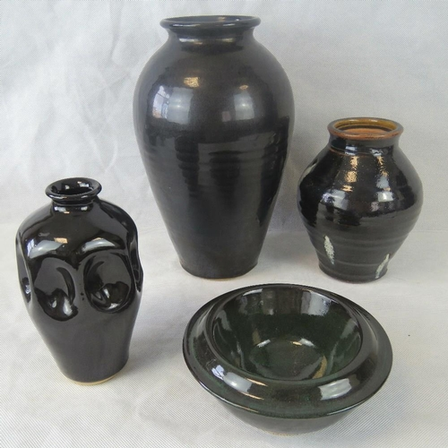 493 - Four large items of Philip Gardner Cornish pottery being three vases and a bowl....