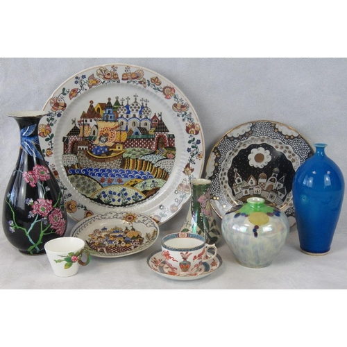 503 - A quantity of assorted 20thC ceramics including a large Greek charger....