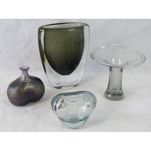 603 - Four small glass items being a smokey art-glass vase, a Swedish mottled glass small vase and two pla...