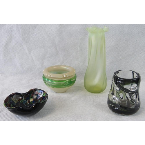 609 - Four assorted glass items including a tall Art Deco vase, a pearlescent bowl, smiley abstract vase a...