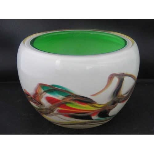613 - A heavy multi-coloured overlaid Italian Murano glass bowl 17vm diameter....