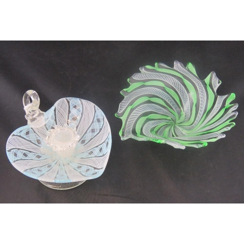 614 - A delicate glass abstract bowl together with similar chamber stick. Two items....