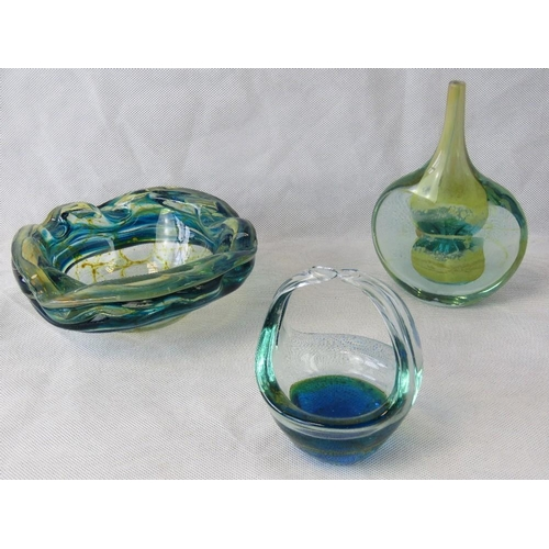 618 - Three Murano glass blue/green items including a vase, a bowl and a small basket....
