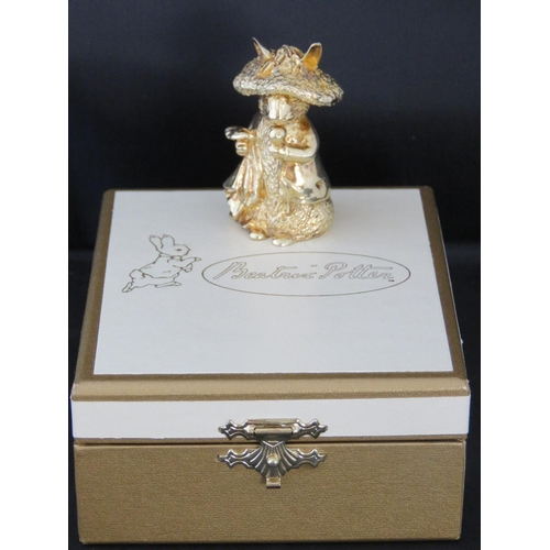 657 - A Peter Rabbit Centenary and Queens Silver Jubilee Limited Edition figurine. 24ct gold on hallmarked...