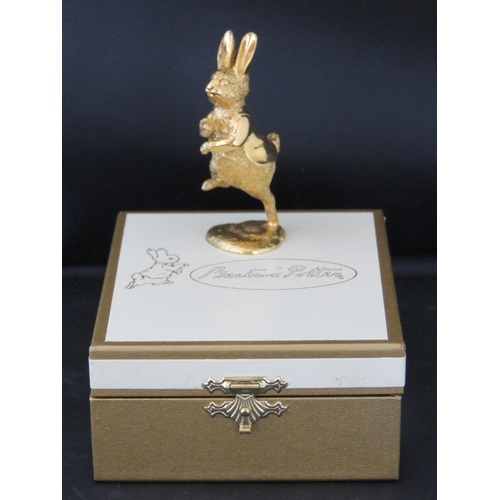 658 - A Peter Rabbit Centenary and Queens Silver Jubilee Limited Edition figurine. 24ct gold on hallmarked...
