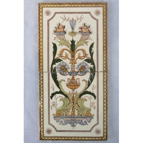 664 - A pair of Victorian decorative transfer-printed tiles. Probably by Minton. Each measuring 15cm squar...
