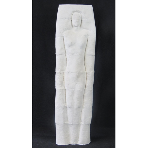 668 - An abstract ivory-ground pottery table folly of partially visible recumbent human form by Juliet Tho...