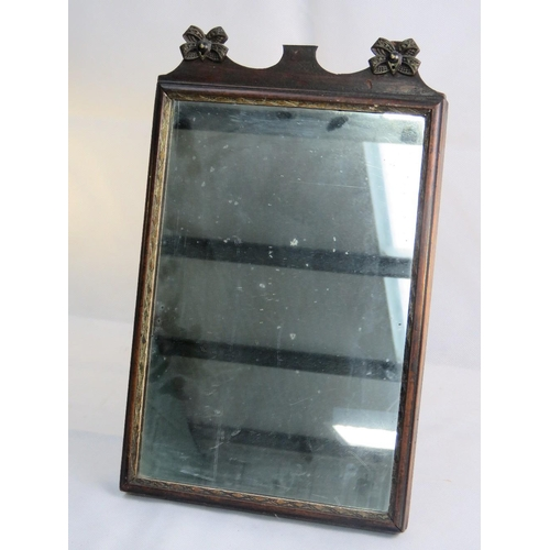 669 - A 19th century freestanding easel table mirror, mahogany frame with incised and gilded border, the t...