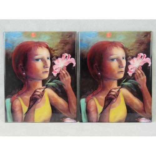 673 - Sharon Yamamoto. Ceramic print on tile. 25cm x 20. A pair....