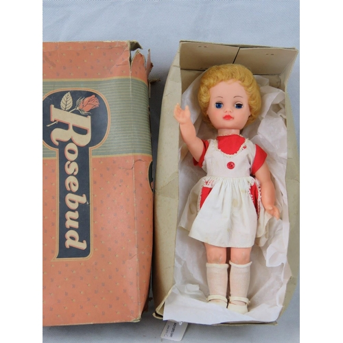 687 - Vintage toys and dolls; plasticised Rosebud doll with sleepy eyes and moveable limbs together with o...