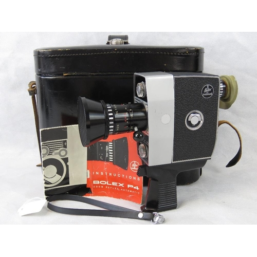 836 - A Bolex P4 Zoom Reflex Automatic movie camera; with instruction manual and fitted case....