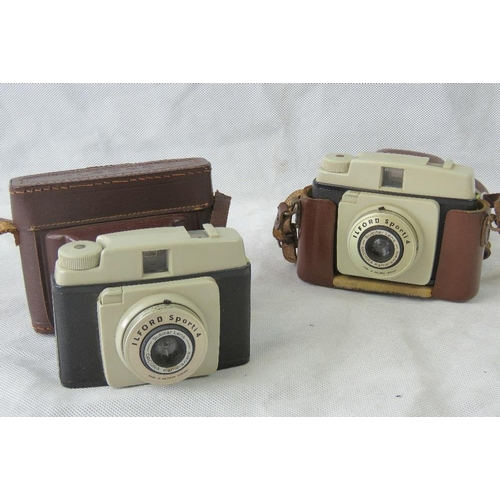 845 - A pair of vintage Ilford Sporti 4 cameras with Subitar lenses and original pigskin leather cases. Tw...