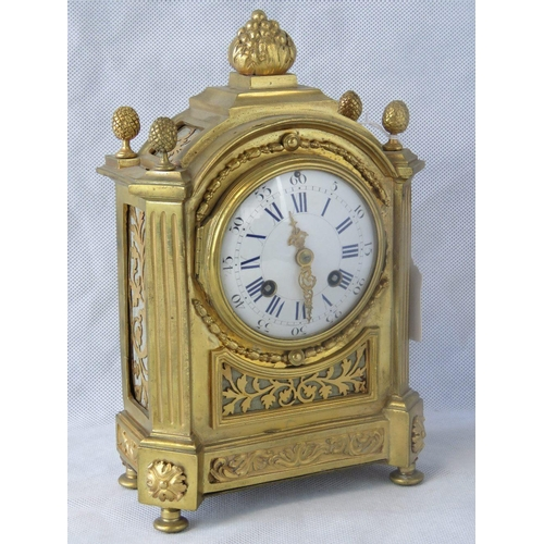 900 - A quality heavy gilt brass continental mantle clock with enameled face, Arabic & Roman numerals all ...