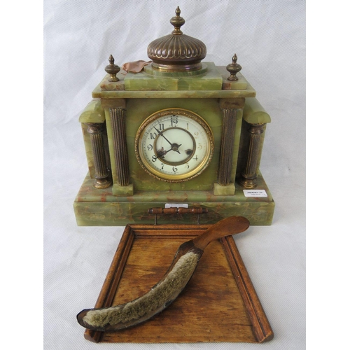 903 - A Victorian architectural  Onyx mantle clock. Enamelled face with Arabic numerals before the 8-day s...