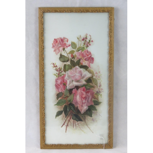 950 - Oil on ceramic. A framed study of blooming roses. 55cm x 26....