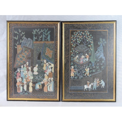 953 - A smart pair of 20th century black-ground  Indian paintings each with floral borders. 47 x 71cm....