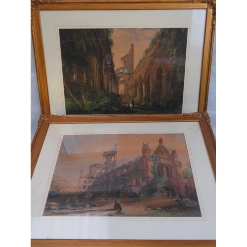 954 - (William?) Samuel Parrott (1797 - 1876). Watercolours of mined abbey with figures (Nott, 1845), sign...