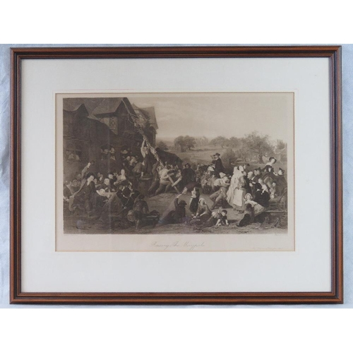 960 - Print. Engraved by Sharpe after a painting by Goodall 'Raising The Maypole' an Art Union print of 18...