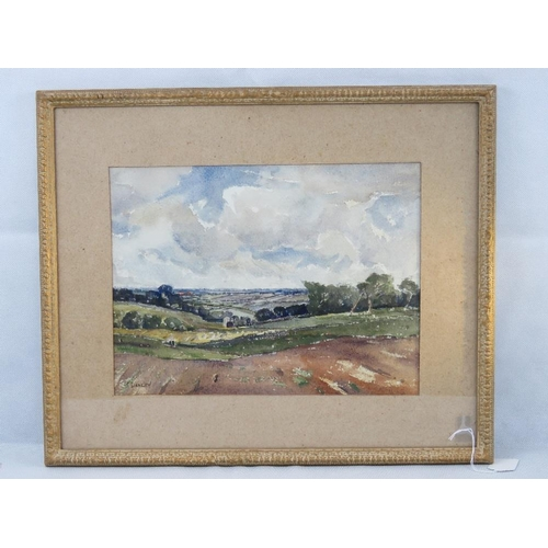 962 - Watercolour. Rural scene fields trees, sky beyond. Entitled 'From Booth Lane', signed lower left J D...
