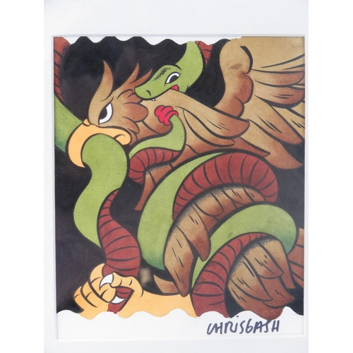 964 - Chris Gash, cartoon of eagle battling snake, acrylic on paper; signed lower right; sight size 20cm X...