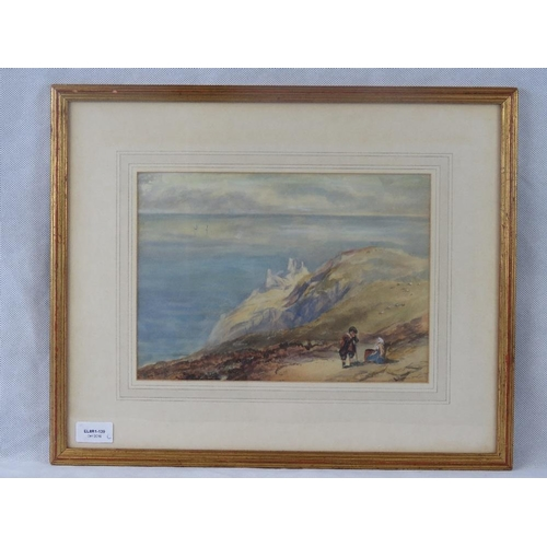 966 - After Sam Bough (Scottish, 1822-1878), coastal scene with figures, watercolour, signed lower left ''...