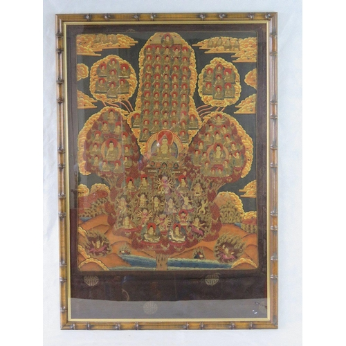967 - A Tibetan 19th/early 20th century Buddhist hand-painted mystic-tree of life depicting '1000 faces' w...