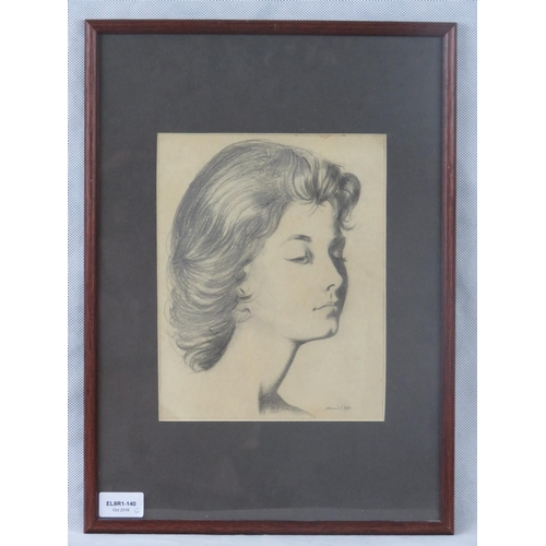 968 - A fine Continental 20th century pencil study portrait of a lady; signed lower right ''J Brunel''; si...
