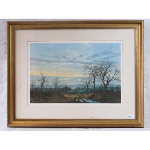 969 - Print. Peter Newcombe. Winter Evening. Ltd Ed 75/100 signed by the artist lower right 56 x 38cm with...