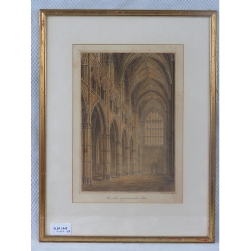 970 - John Chessell Buckler (British 1793-1894) The Nave of Westminster Abbey, watercolour, signed and ind...