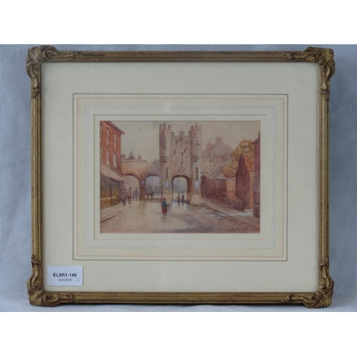 974 - An early 20th century watercolour of Mickelgate Bar York, possibly by J. W. Williams; indistinctly s...