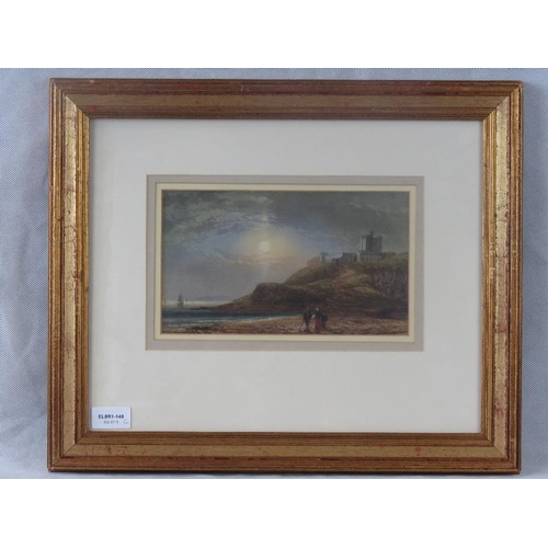 980 - An early 20th century watercolour of evening coastal scene; unsigned; sight size 14cm x 24cm....