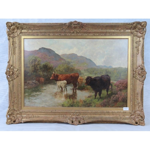 981 - Oil on canvas. Cattle by stream, moorland, hills and sky beyond. Signed lower right Charles Collins ...