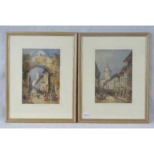 982 - C. M. Hahn, late 19th century, a pair of watercolour continental street scenes, both signed lower le...