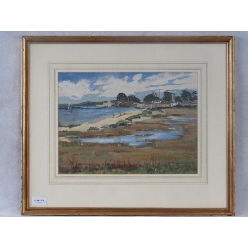 988 - A 20th century Beach scene, gouache, indistinctly signed lower left; sight size 26cm x 36cm....