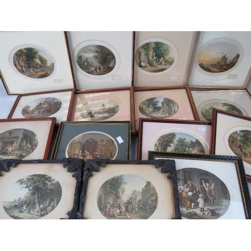 993 - A quantity of fourteen assorted original Abraham Le Blond prints, various frames....