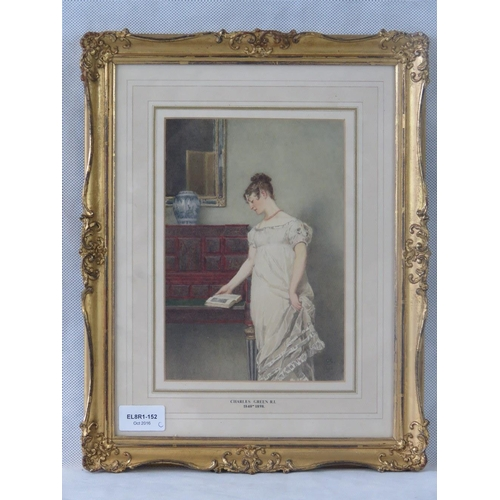 994 - Charles Green, lady reading, watercolour; initialled ''CG'' and dated ''1881'' lower right; sight si...