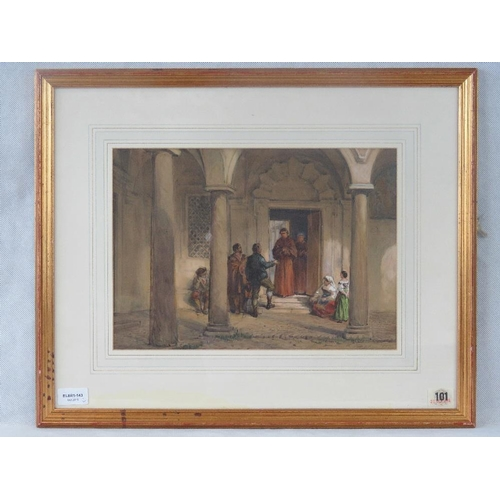 998 - A 19th century continental watercolour of an exterior abbey scene, indistinctly signed but dated 185...