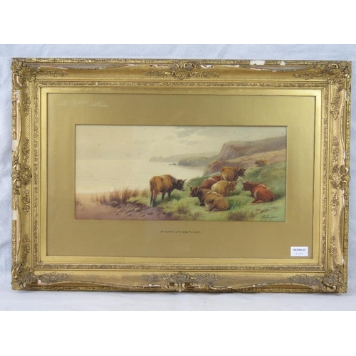 999 - Watercolour. 'Near Northcott Mouth, Bude.' Cattle at rest. Coast and sky beyond. Signed lower right ...