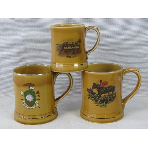 17 - A Wade hunting themed transfer printed mug with silver-gilded rim together with similar golfing them...