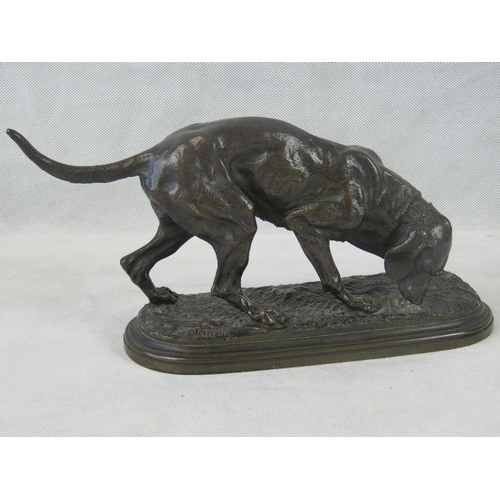 20 - After Jules Bonheur. (French. 1827-1901) A bronzed figurine of a hunting hound, bearing signature 'J...