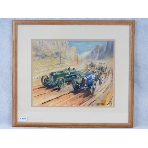 5 - 20th century British school, Sunbeam Bugatti 1924 San Sebastián Grand Prix; watercolour, unsigned; s...