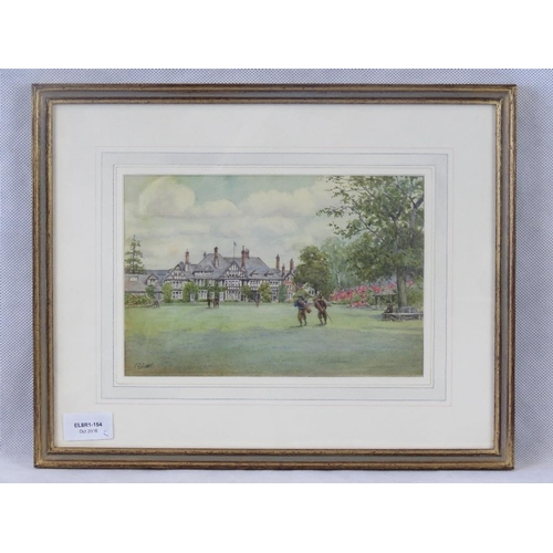 7 - Early 20th century, Watercolour of Royal Lothian and St Anne's golf course; indistinctly signed lowe...