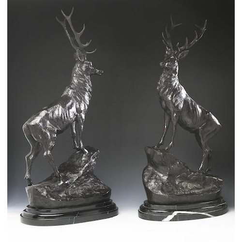 21 - After Jules Moigniez (French: 1835-1894) A fine opposing pair of bronze stags each raised on a marbl...
