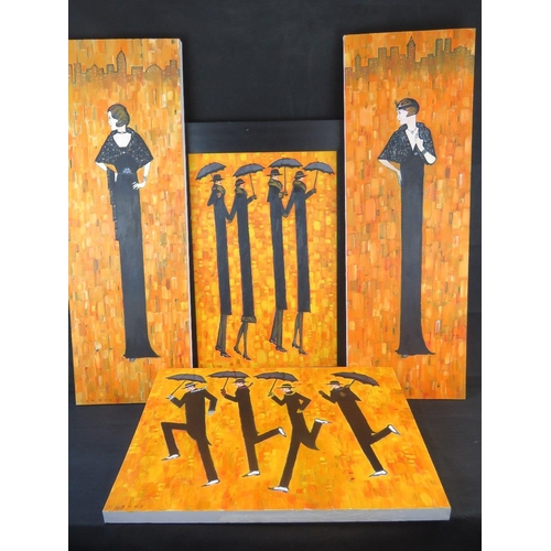 1009 - Clarke, late 20th century, four oil on canvas 1920s figures; all signed lower left; largest sight si...
