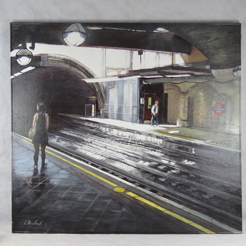 957 - Chris Newbrooke, late 20th century, ''Underground (Great Portland Street), acrylic on canvas, signed...